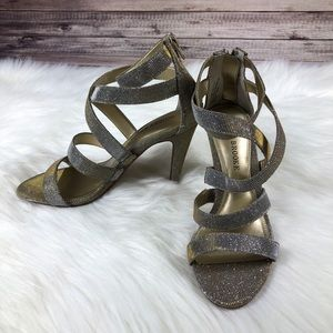 NWOT Audrey Brooke Strappy Gold/Silver Heels